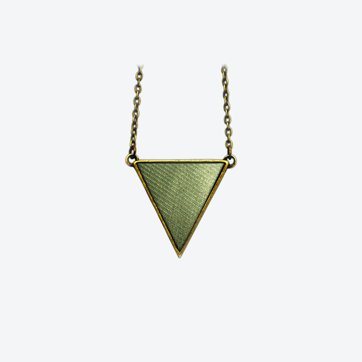 Leather Triangle Necklace in Nymph Green