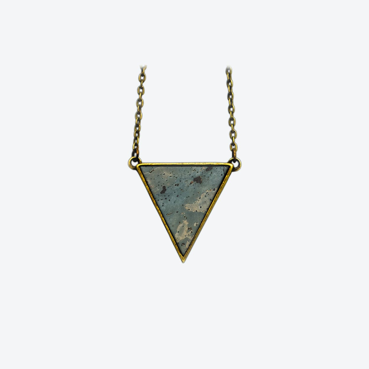 Cork Triangle Necklace in Smoke Green