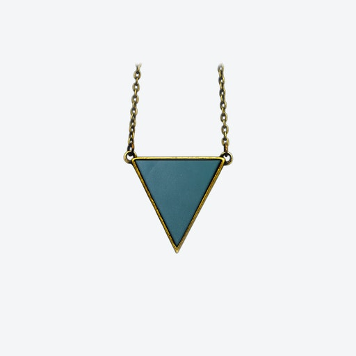 Leather Triangle Necklace in Deep Petrol