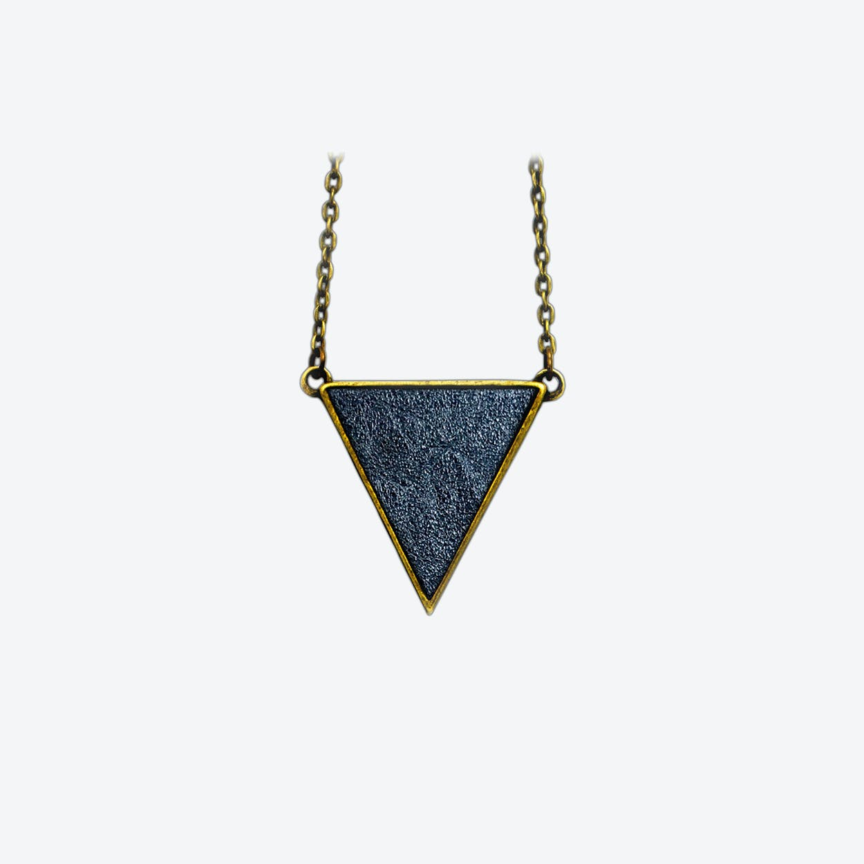 Leather Triangle Necklace in Midnight Blue