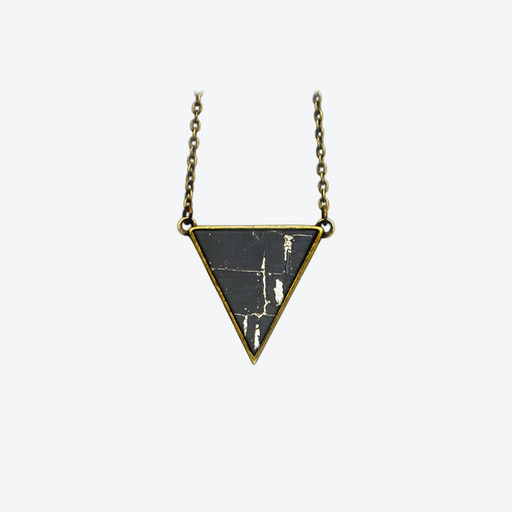 Cork Triangle Necklace in Black Sky