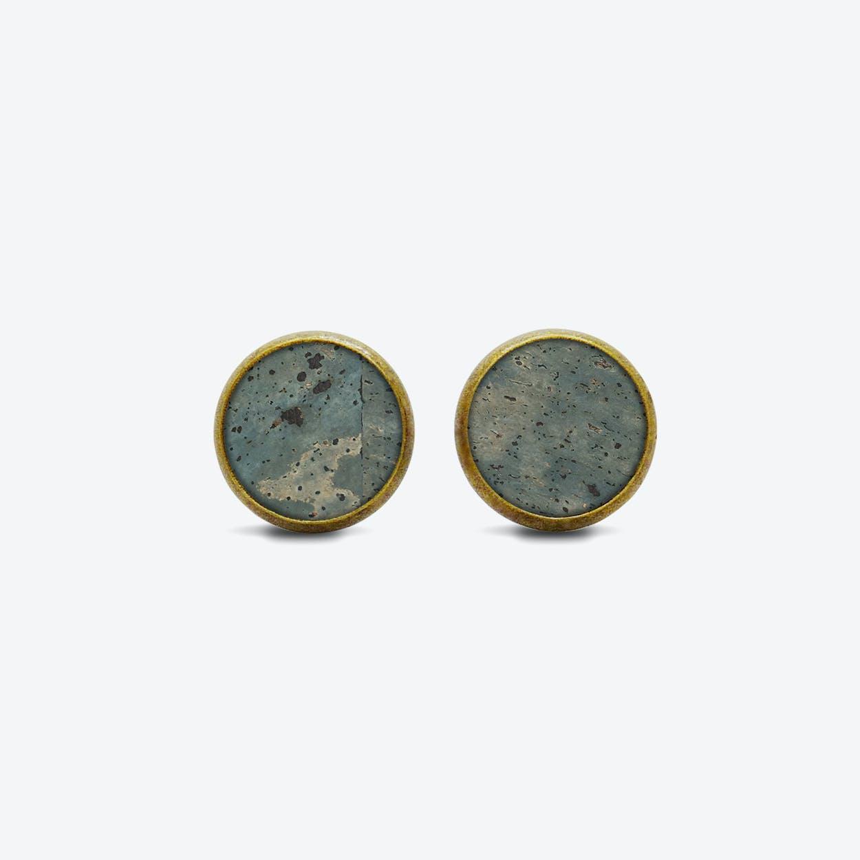 Cork Dot Earrings in Smoke Green