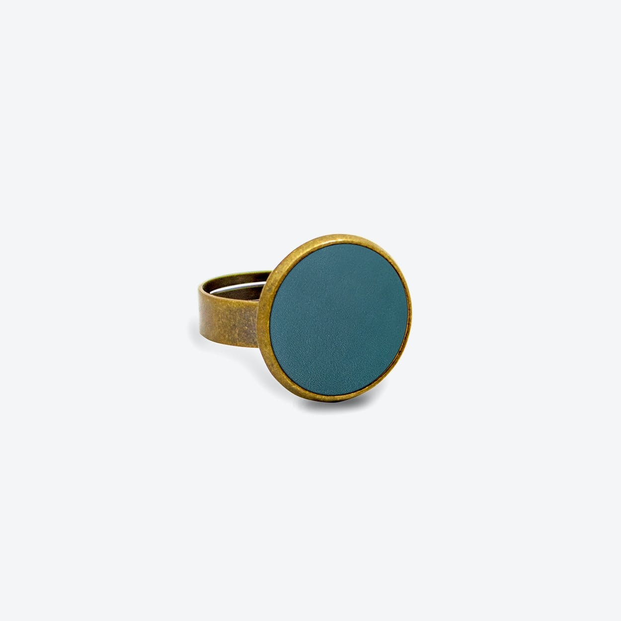 Leather Dot Ring in Deep Petrol