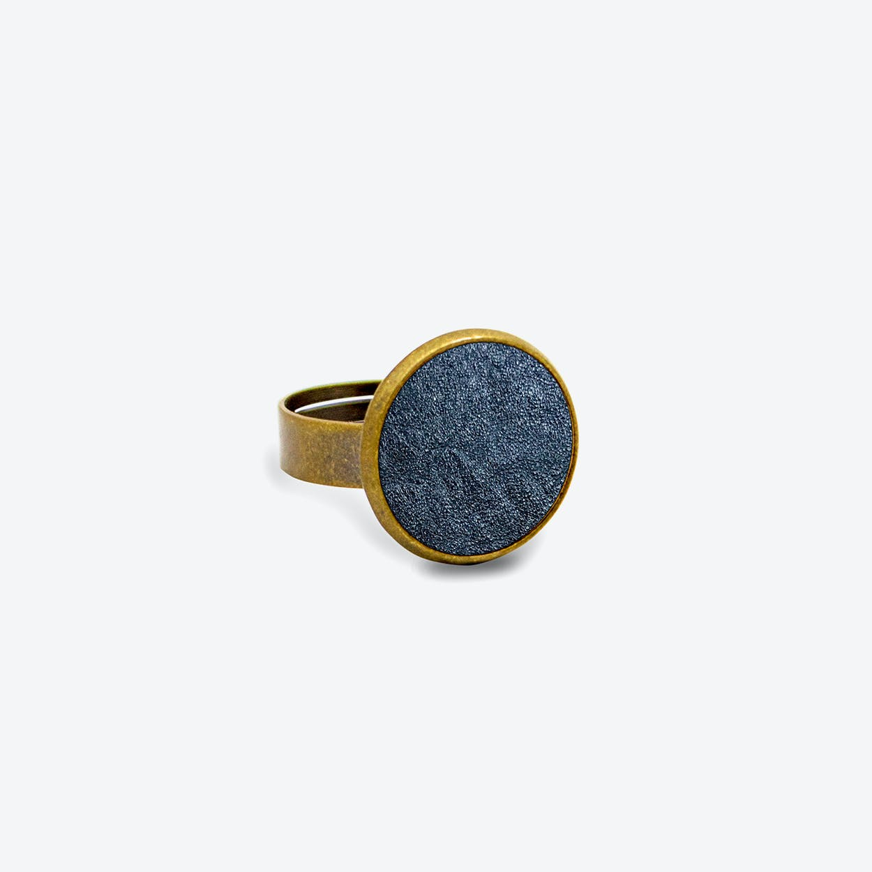 Leather Dot Ring in Midnight Blue