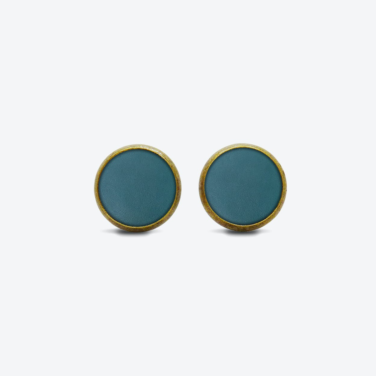 Leather Dot Earrings in Deep Petrol