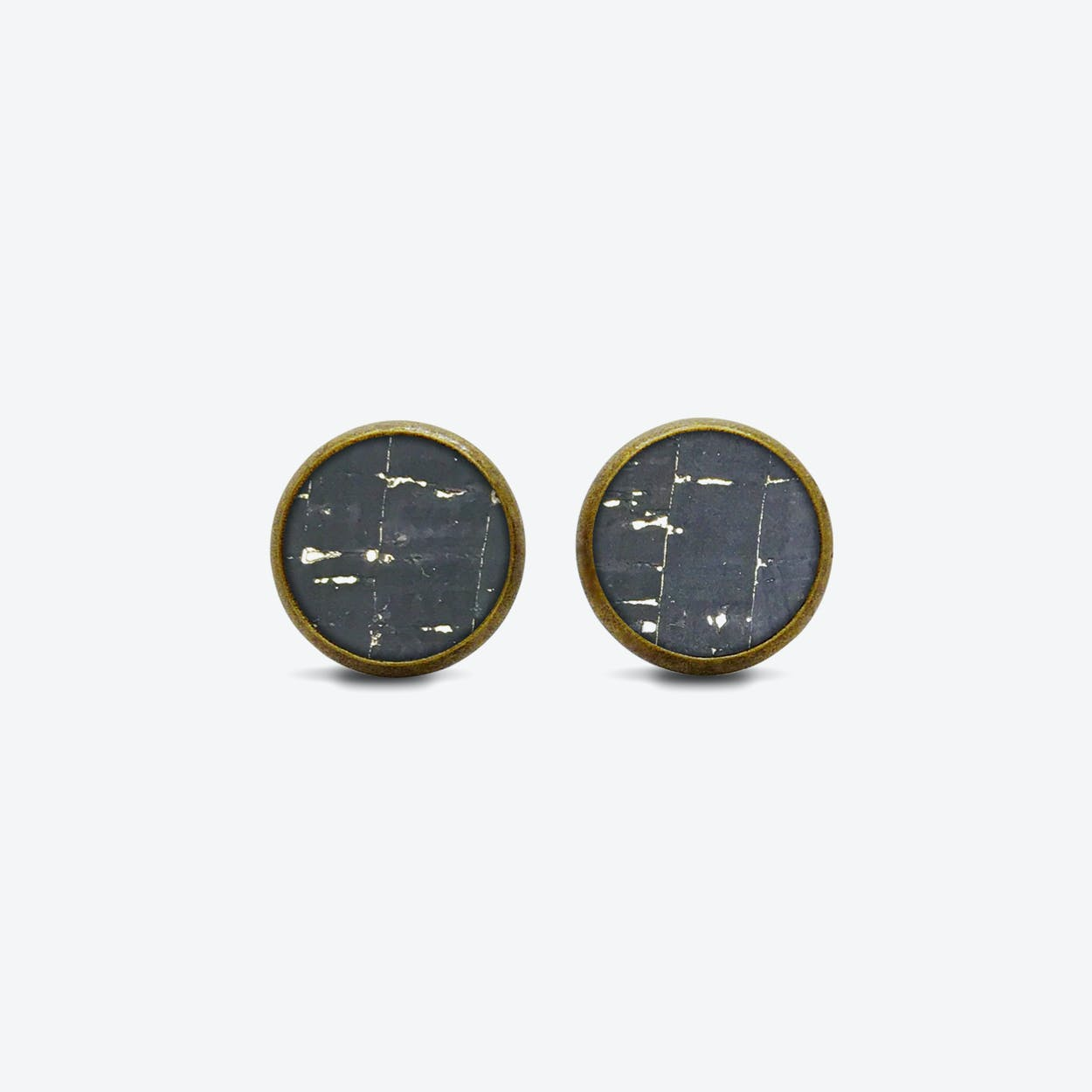 Cork Dot Earrings in Black Sky