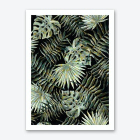 Jungle Dark Tropical Leaves Art Print