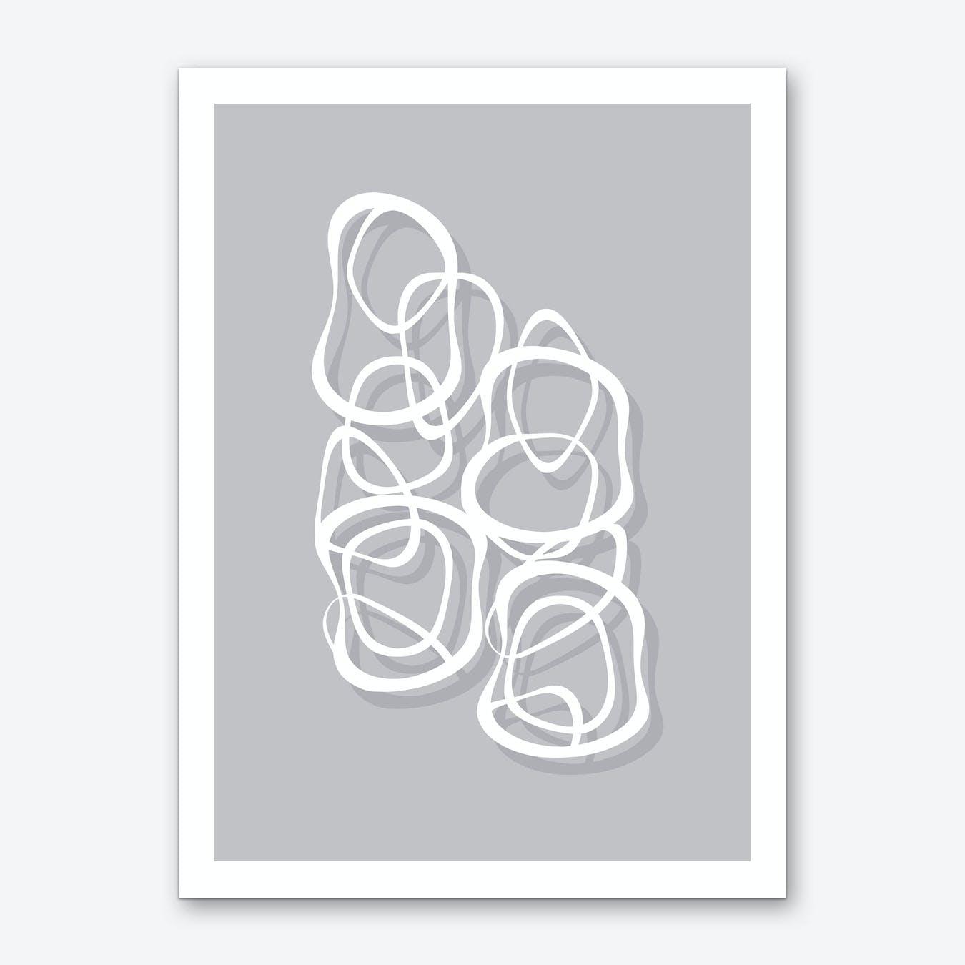 Interlocking White on Soft Gray Art Print