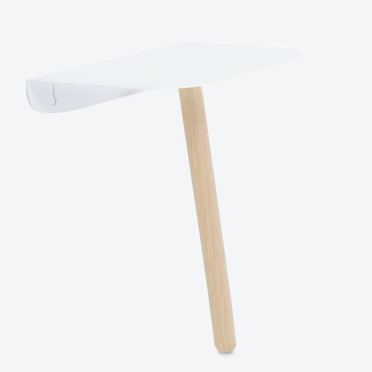 Please Console in Natural Oak Wood and White Dull Metal