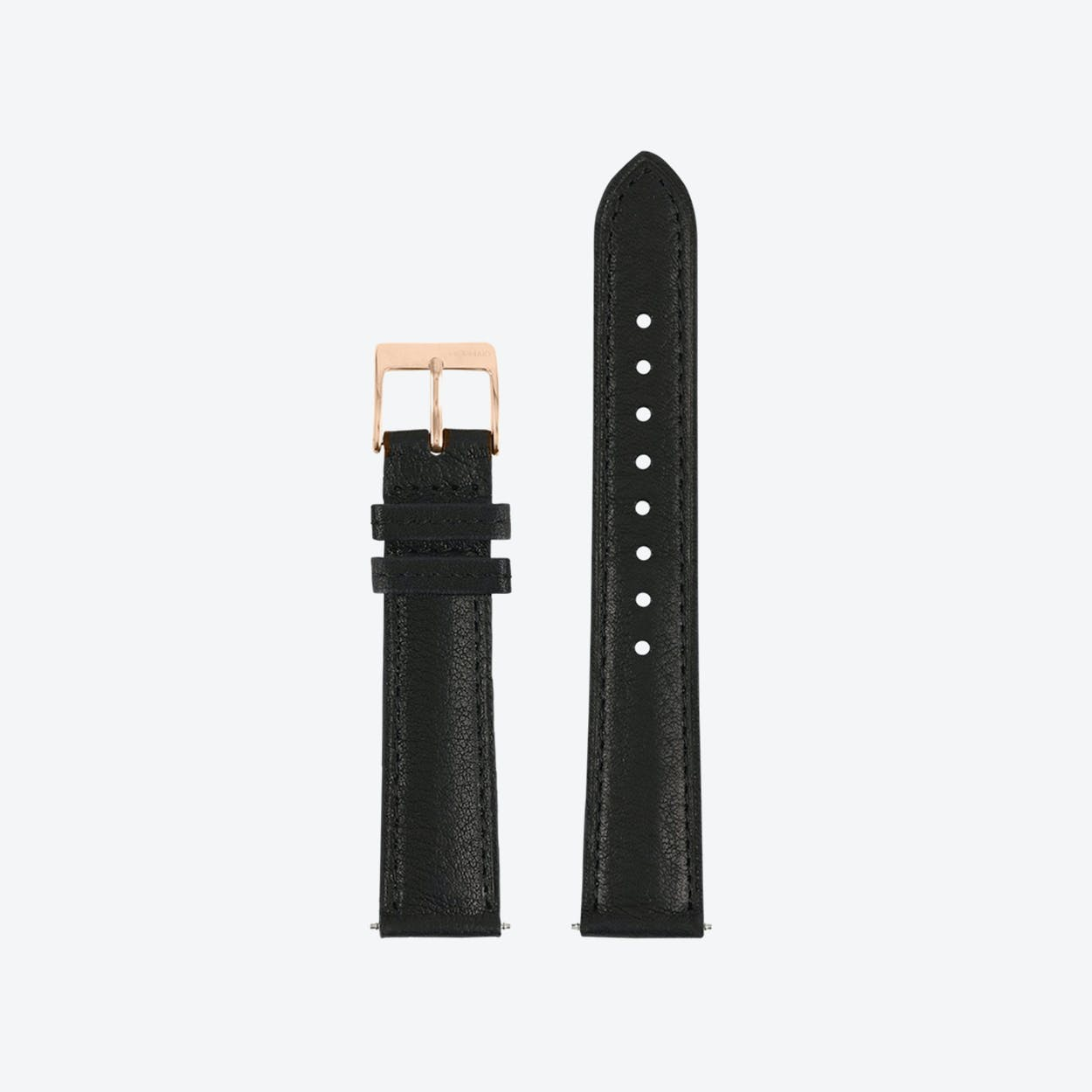 18mm Leather Watch Strap Black/Roségold (With Stitching)