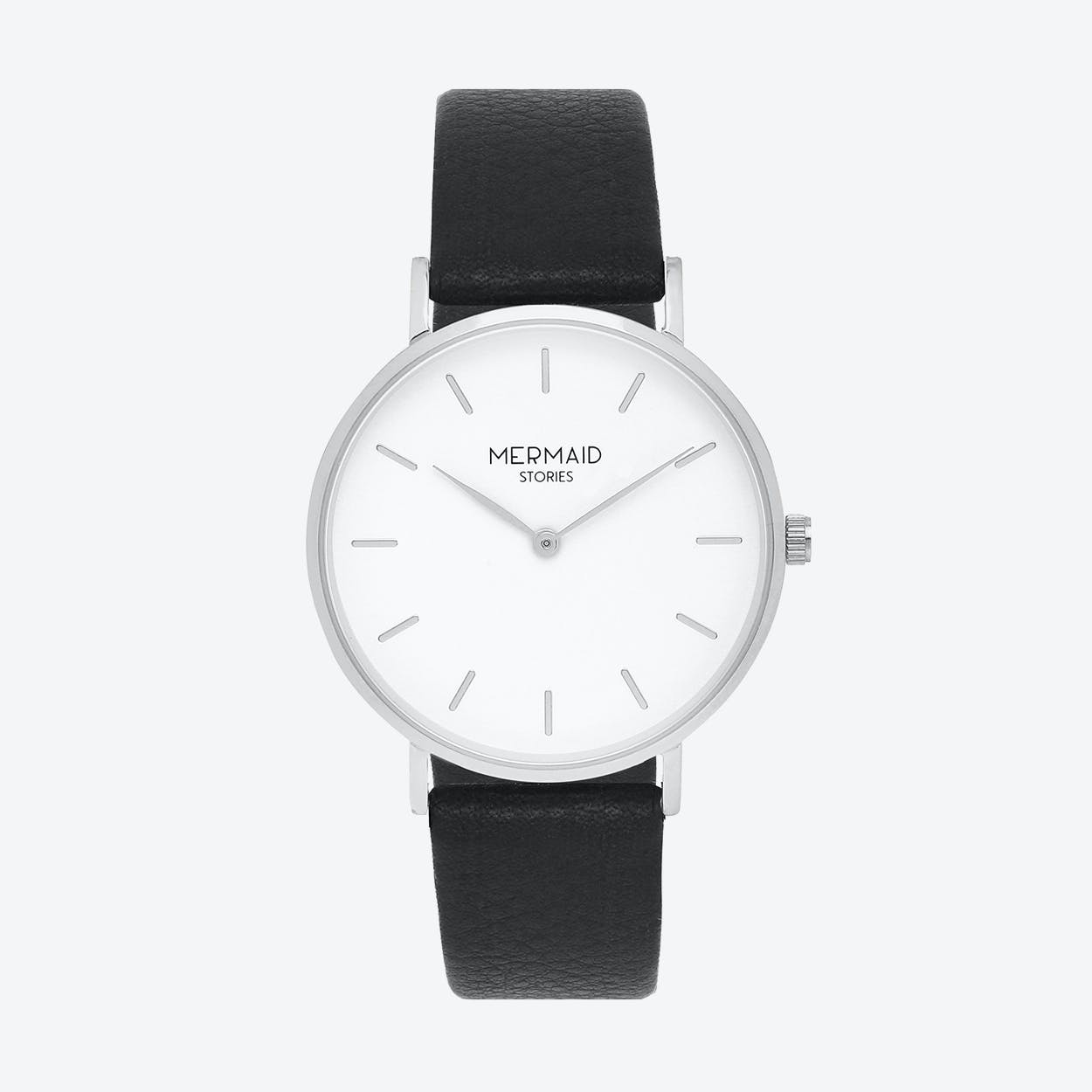 Women'S Watch Freja in Silver and Black Leather Strap, 37mm