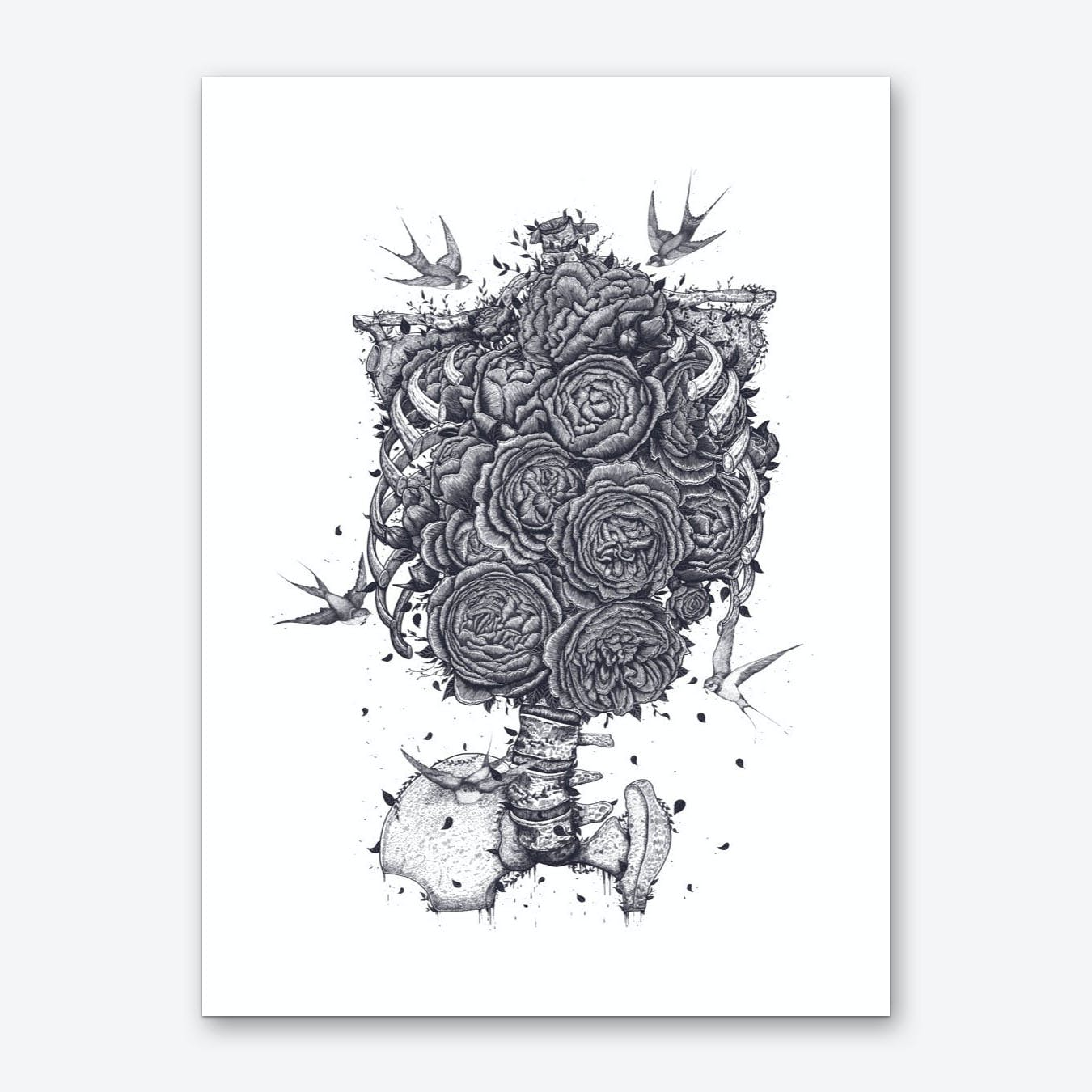 Ribs With Peonies Art Print