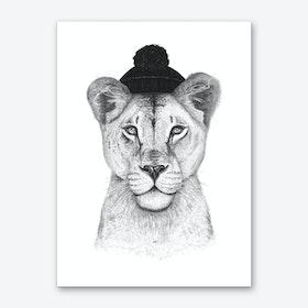 Lioness In Hat Art Print