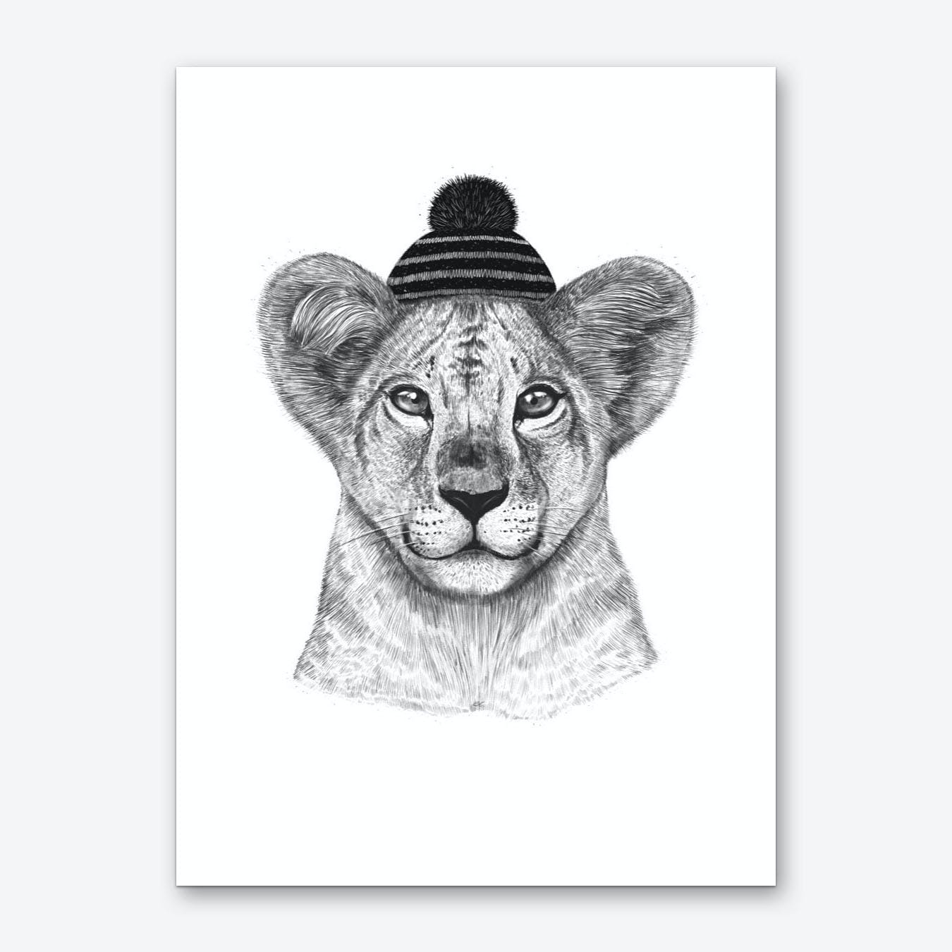 Kid Lion In Winter Hat Art Print