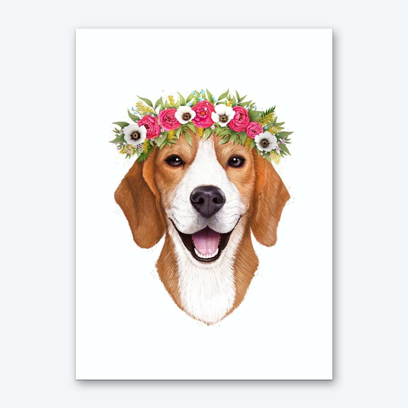 Beagle With Flowers Art Print