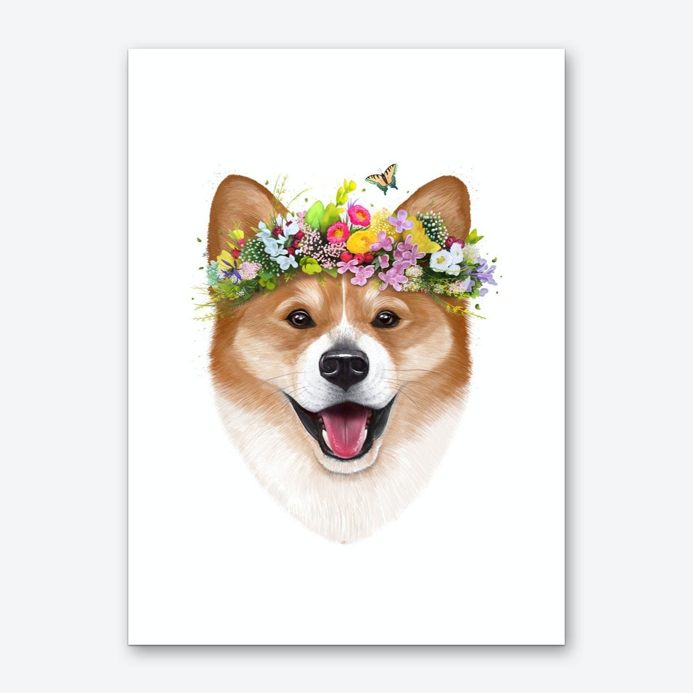 Korgi With Flowers Art Print