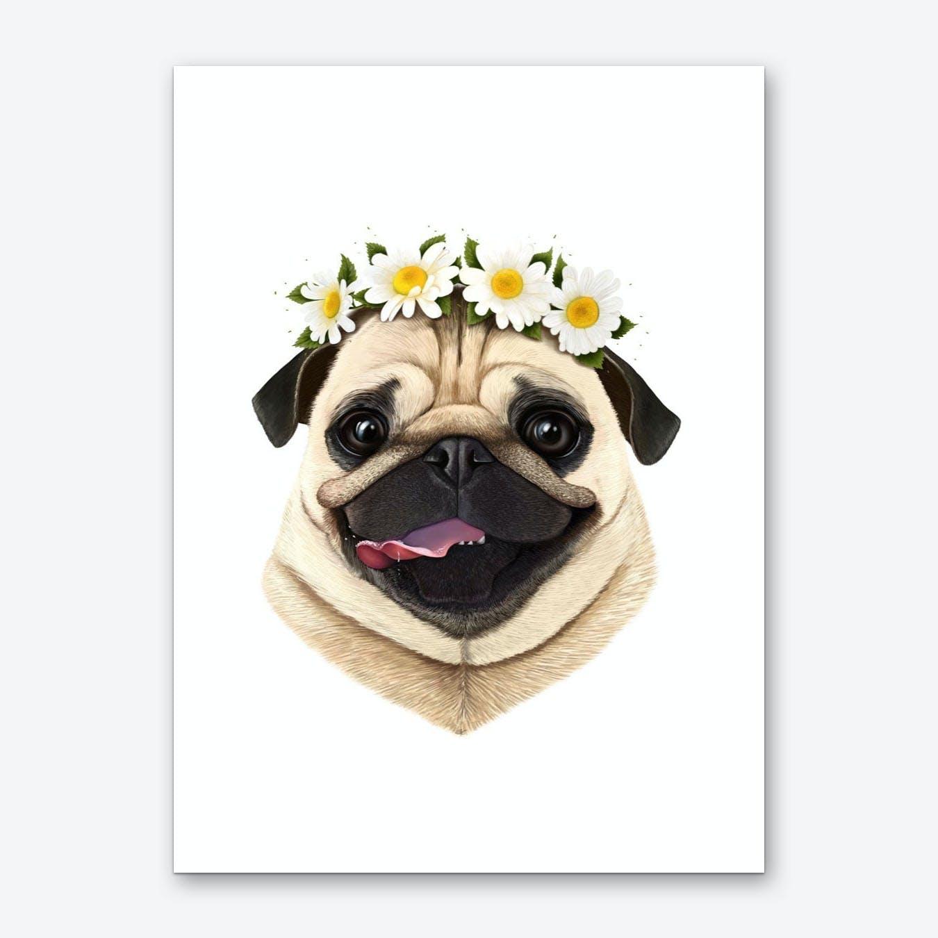 Pug With Flowers Art Print