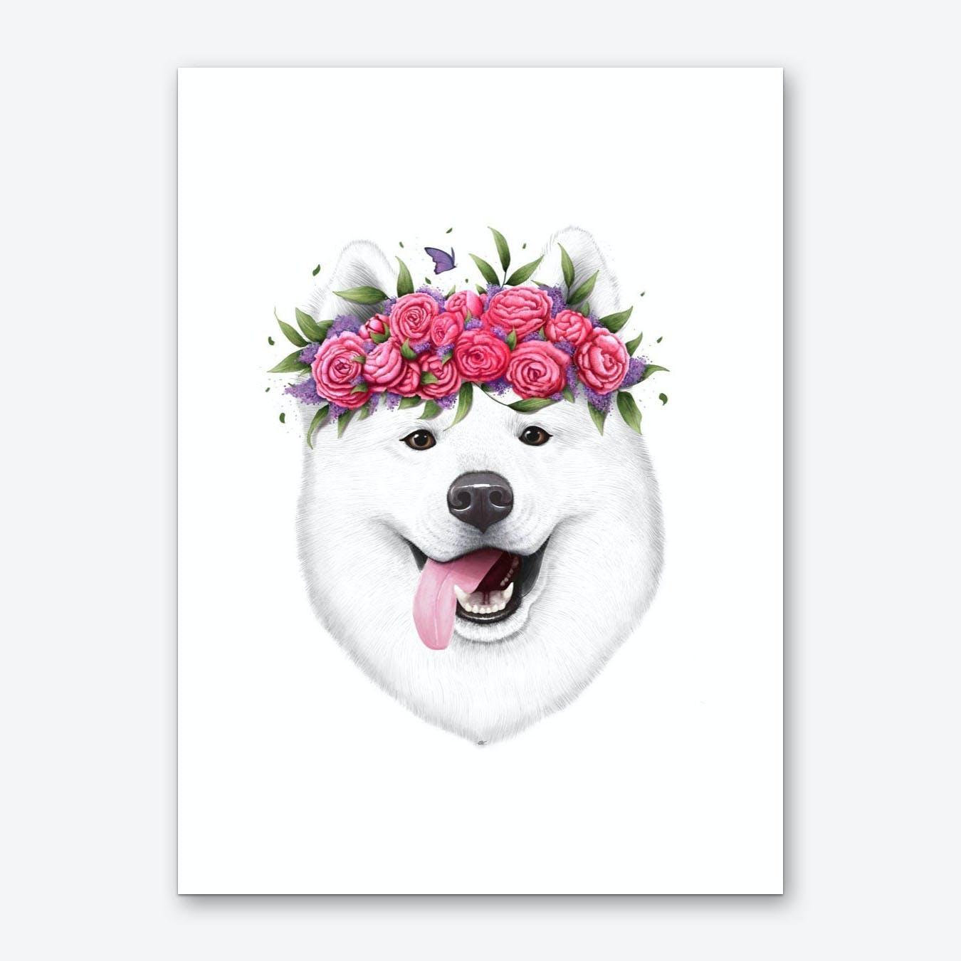 Samoyed With Flowers Art Print