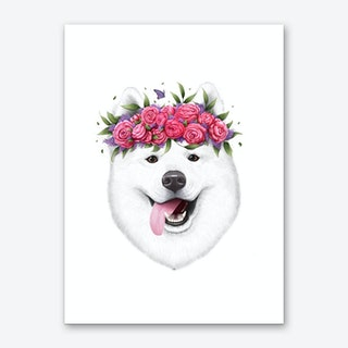 Samoyed With Flowers Art Print