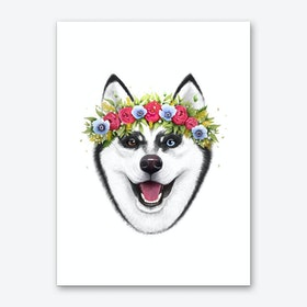 Husky With Flowers Art Print