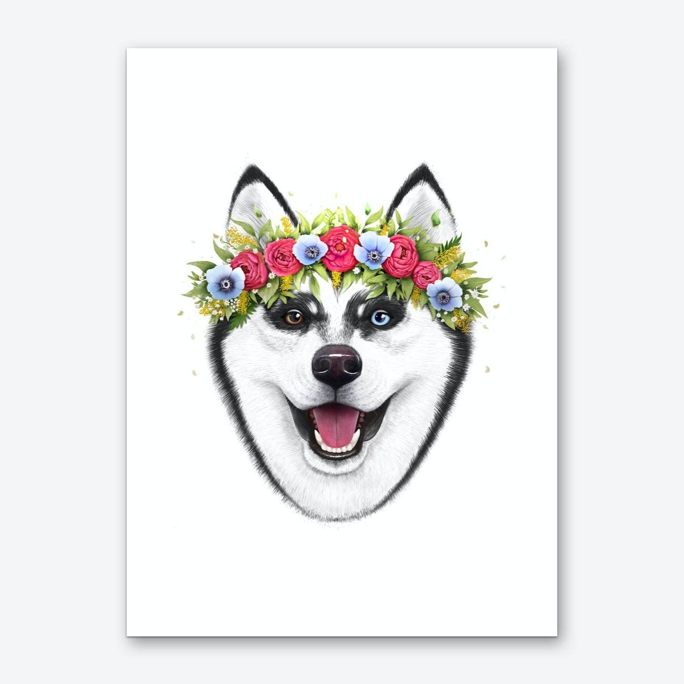 Husky With Flowers Art Print
