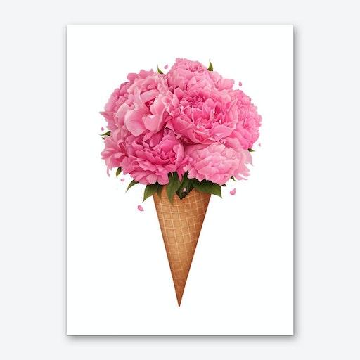 Ice Cream With Peonies Art Print