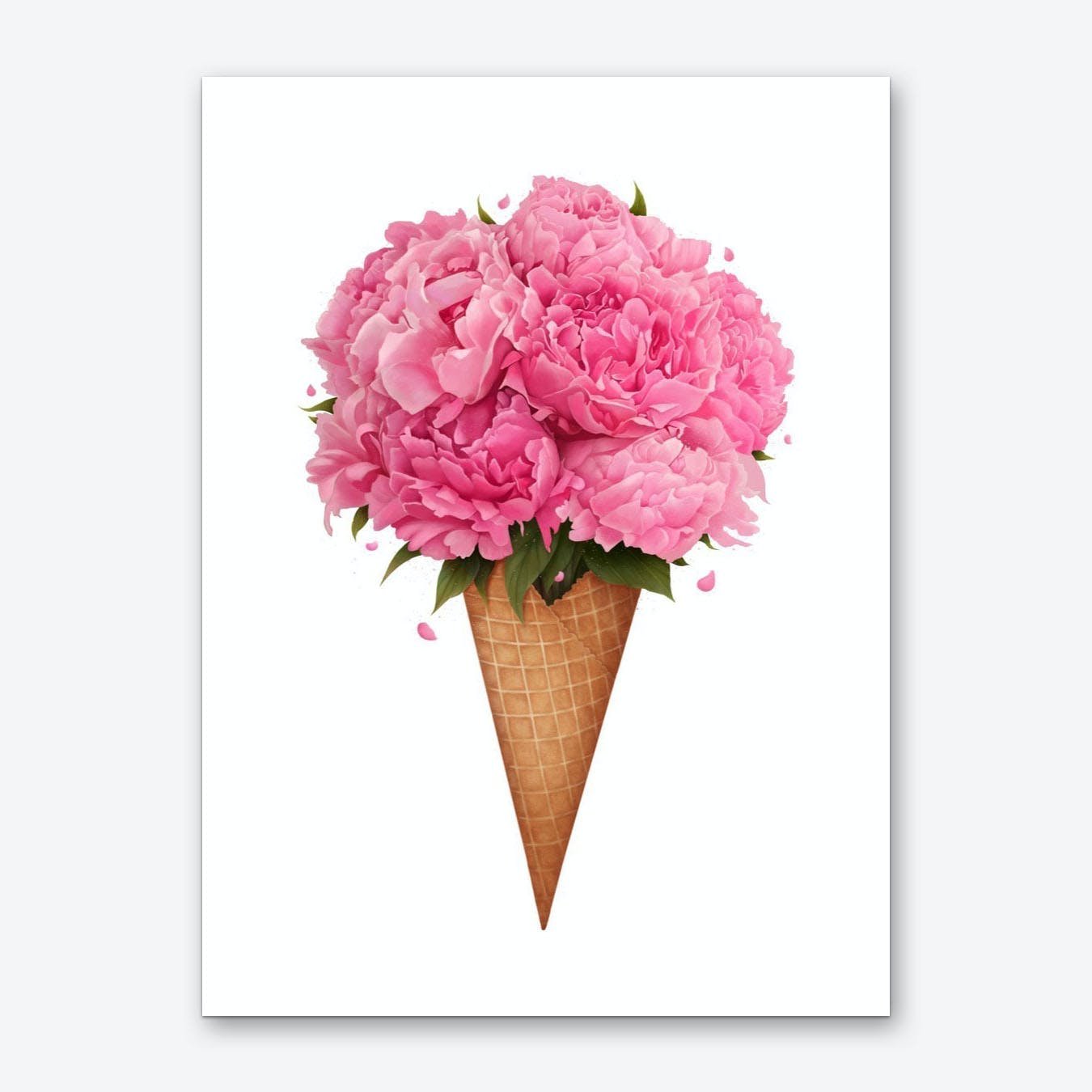 Ice Cream With Peonies Art Print