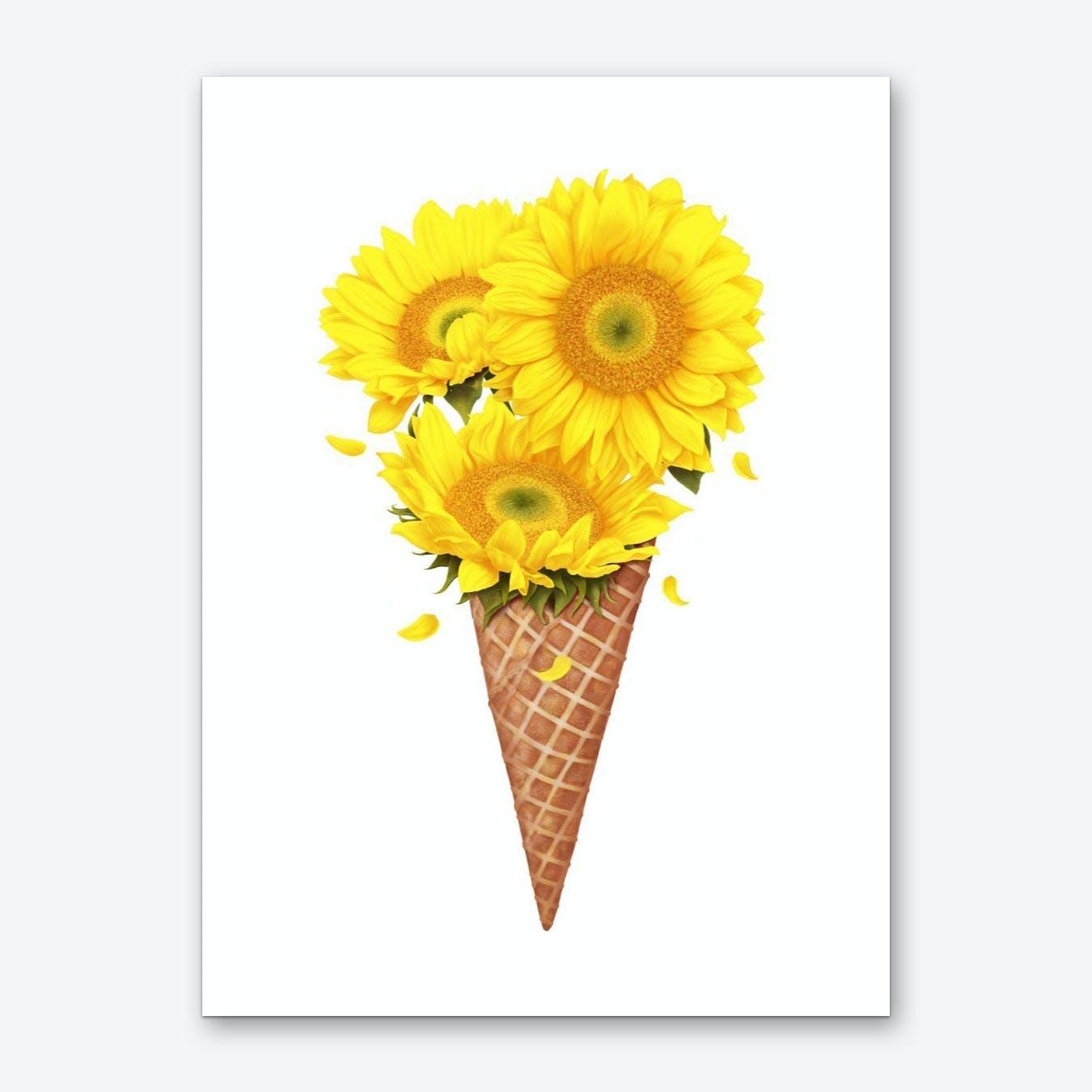 Ice Cream With Sunflowers Art Print