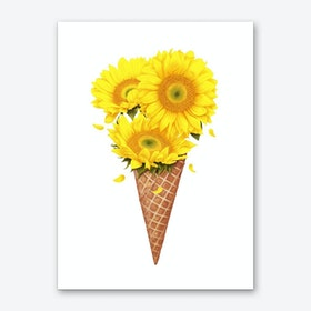 Ice Cream With Sunflowers Art Print