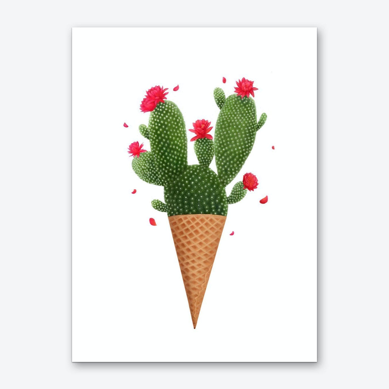 Ice Cream With Cactuses Art Print