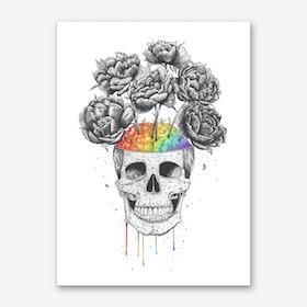 Skull With Rainbow Brain Art Print