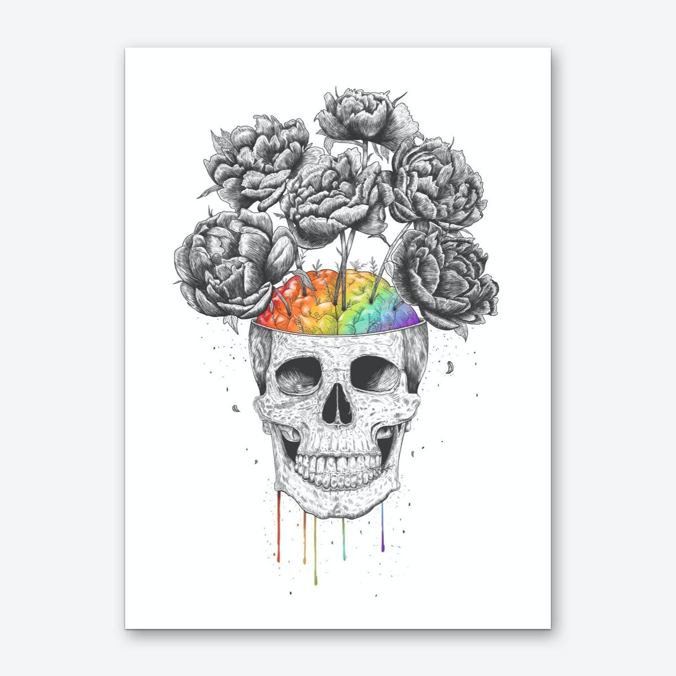 Skull With Rainbow Brain Art Print