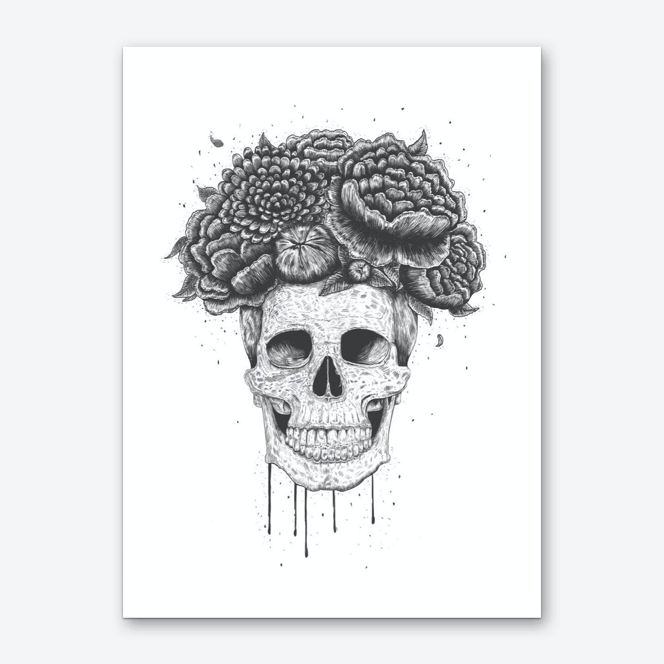 Skull With Flowers Art Print