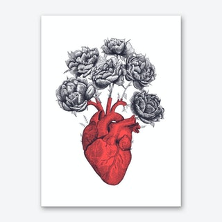 Heart With Peonies Art Print