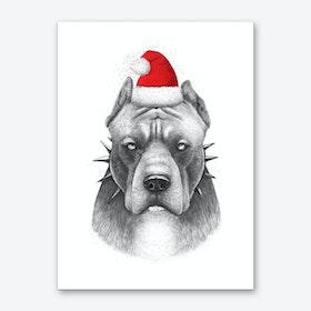 Christmas Pitbull Art Print