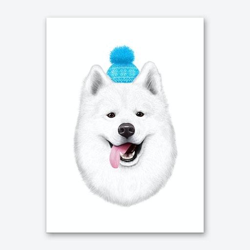 Samoyed In Hat Art Print