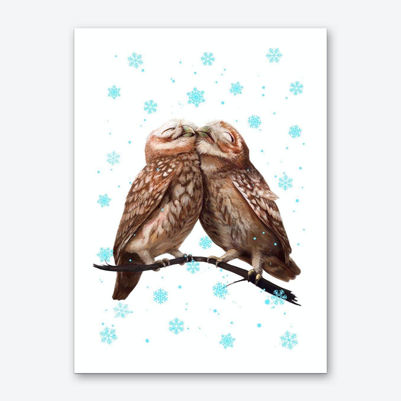 Winter Owls Art Print