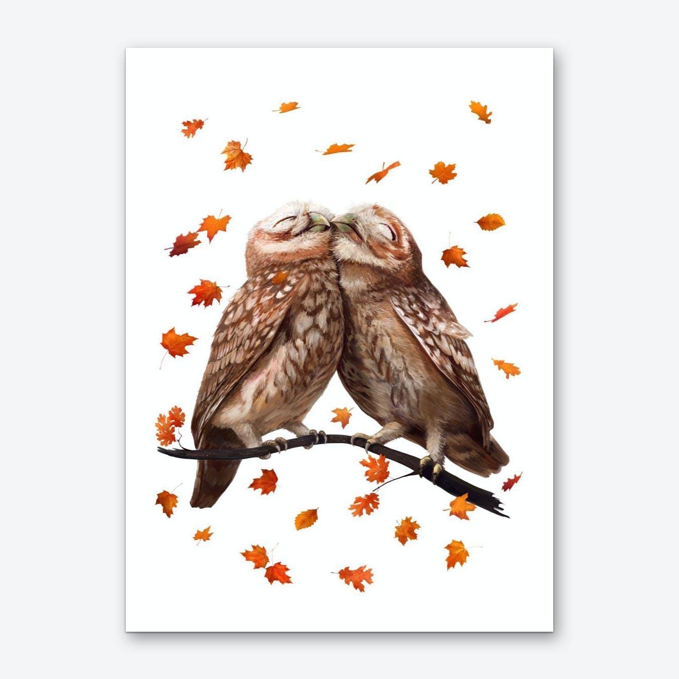 Autumn Owls Art Print