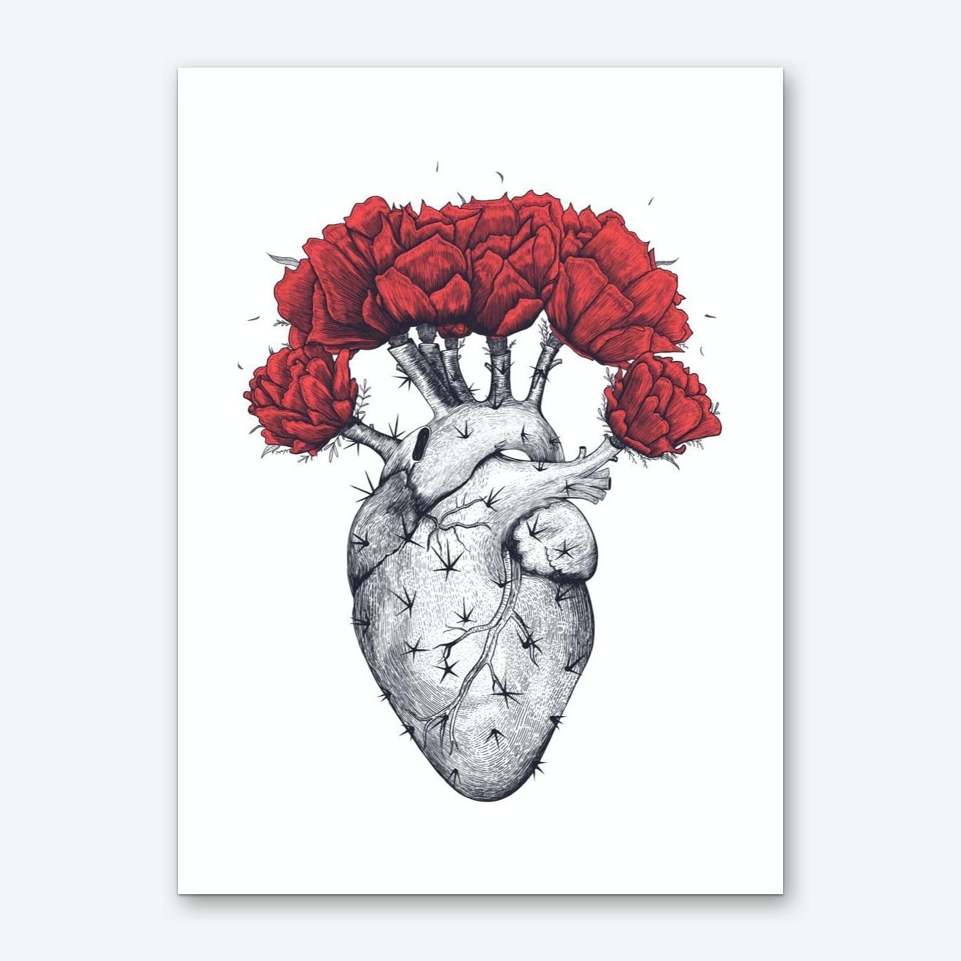 Cactus Heart Art Print By Valeriya Korenkova - Fy