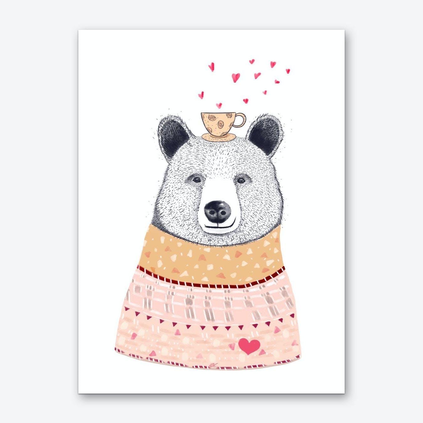 Bear With Coffee Art Print