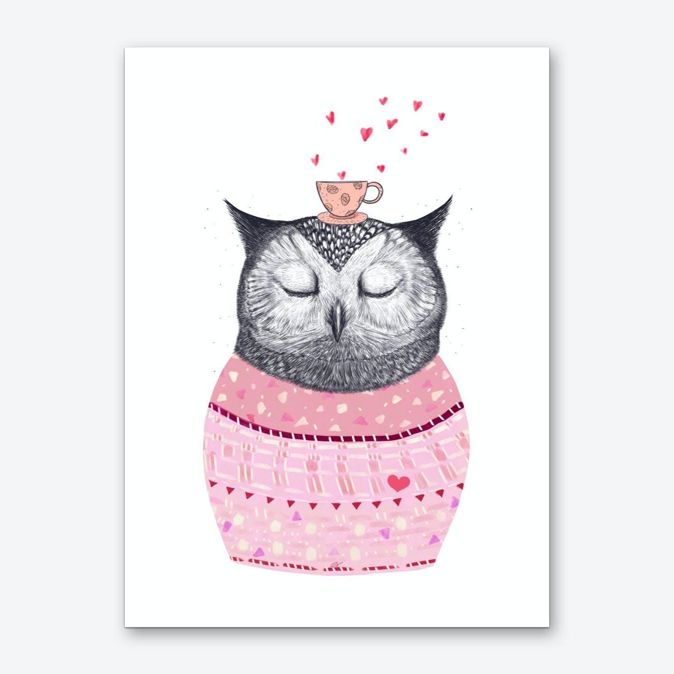 Owl With Coffee Art Print