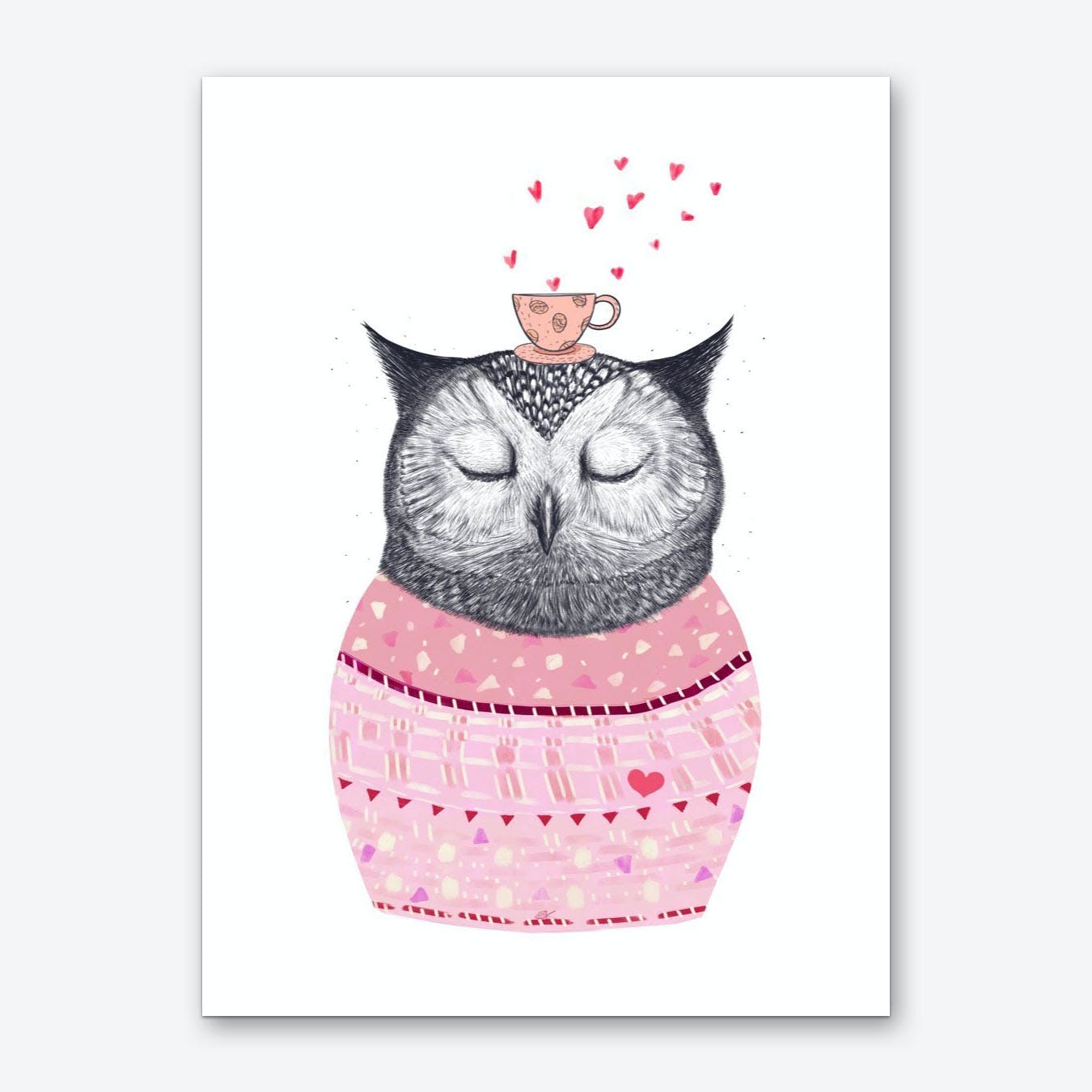 Owl With Coffee Art Print