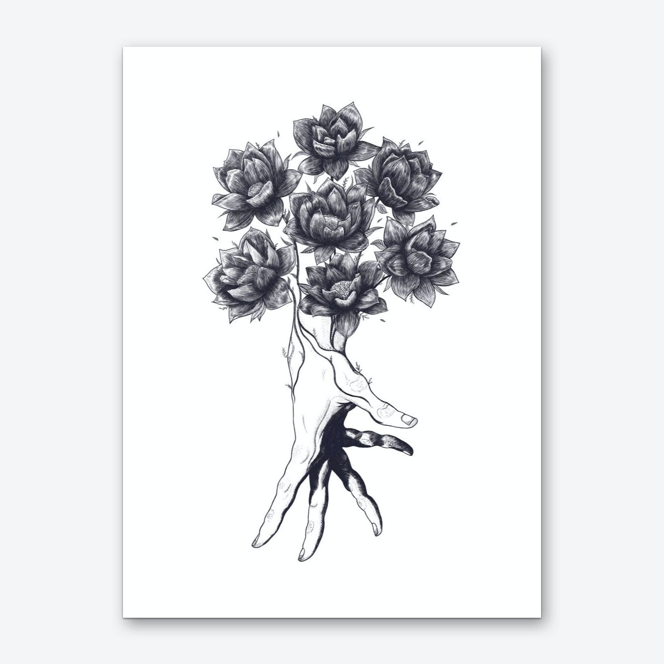 Hand With Lotuses Art Print