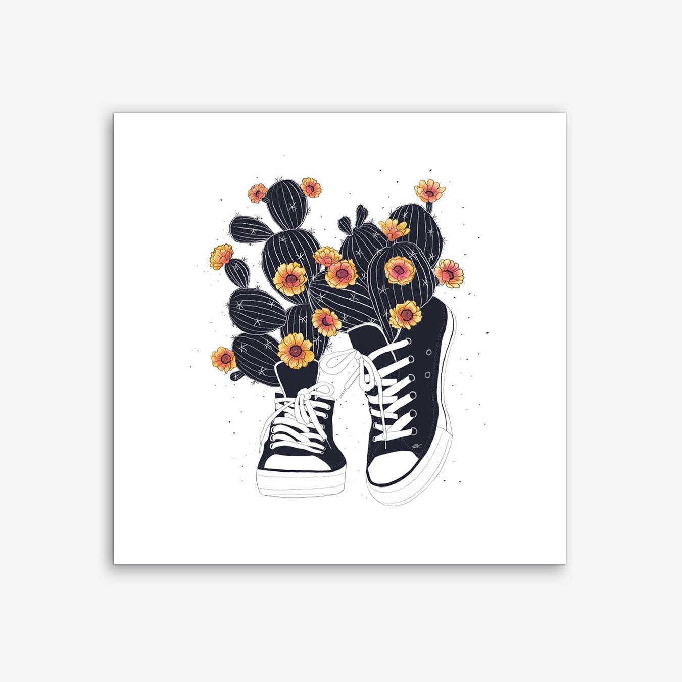 Sneakers With Cactus Art Print