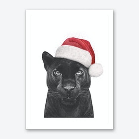 Christmas Panther Boy Art Print
