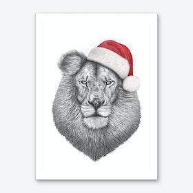 Christmas Lion Art Print