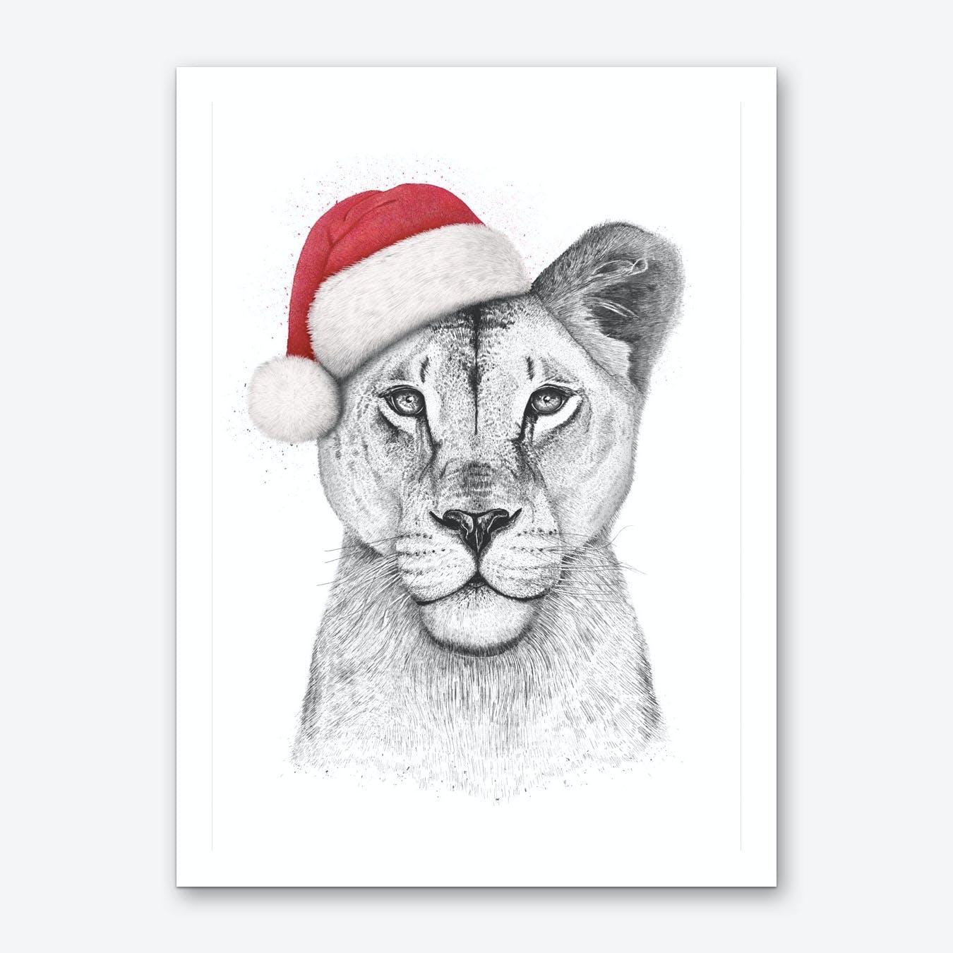 Christmas Lioness Art Print