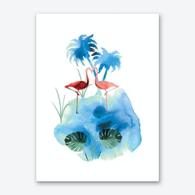 Flamingo Water Art Print