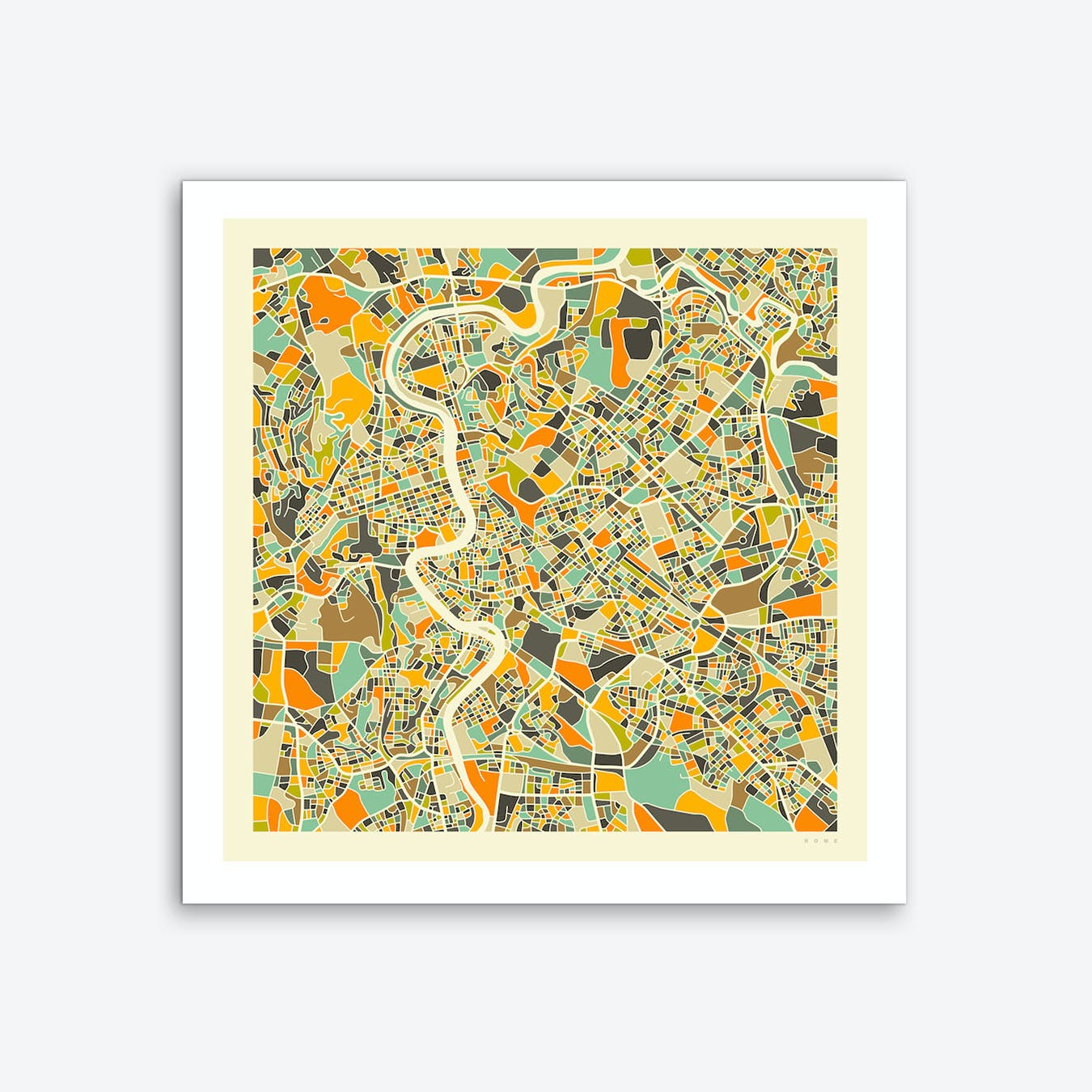 photo about Printable Maps of Rome titled Rome Map Artwork Print