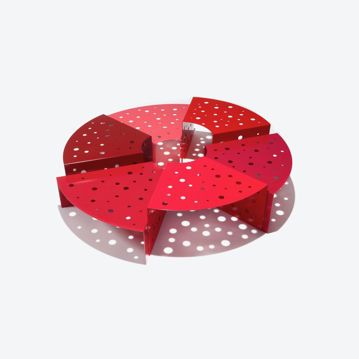Hexalto Coffee Table In Red Lacquered Metal